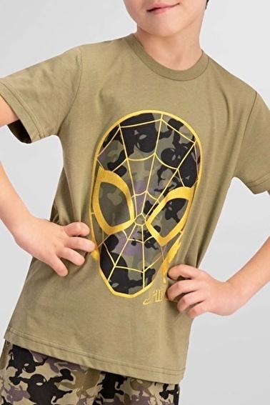 Spider-Man Spider Man Lisanslı Açık Haki Erkek Çocuk Pijama Takımı Yeşil